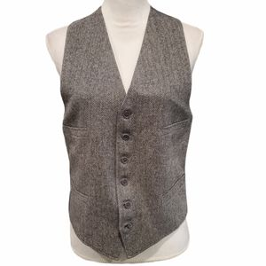 Herringbone Black and White Wool Vest